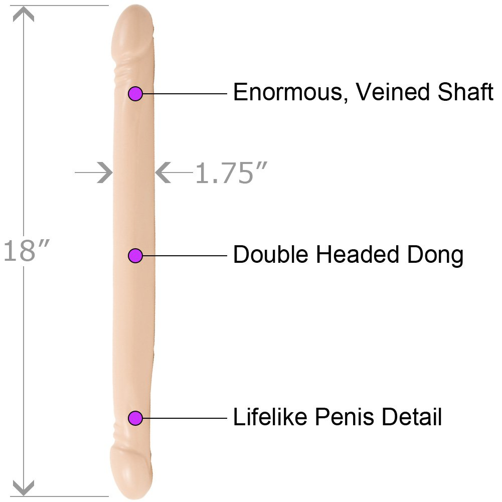 "Doc Johnson Smooth Double Header Dong, 18"", Flesh"