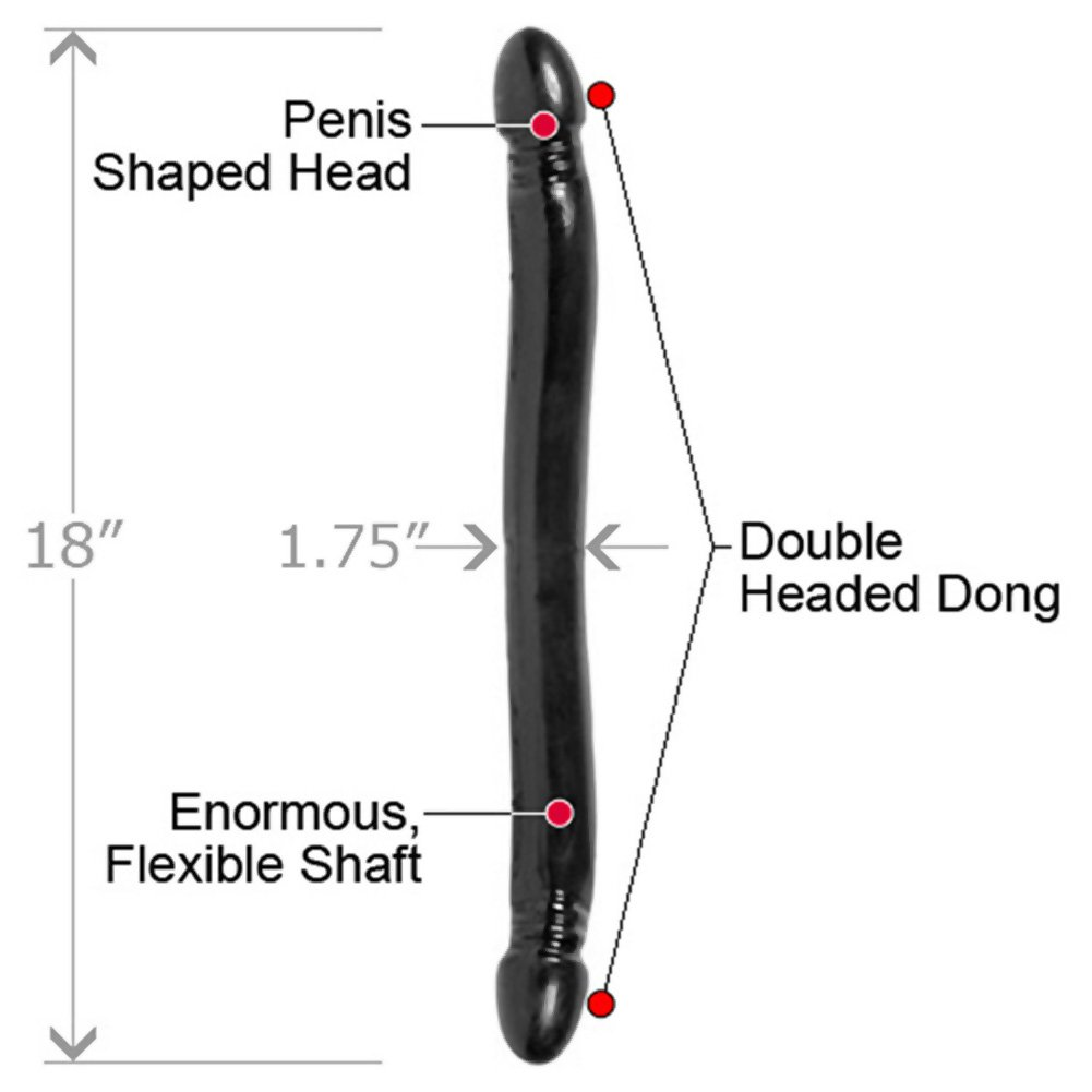 "Doc Johnson Smooth Double Header Dong, 18"", Ebony"