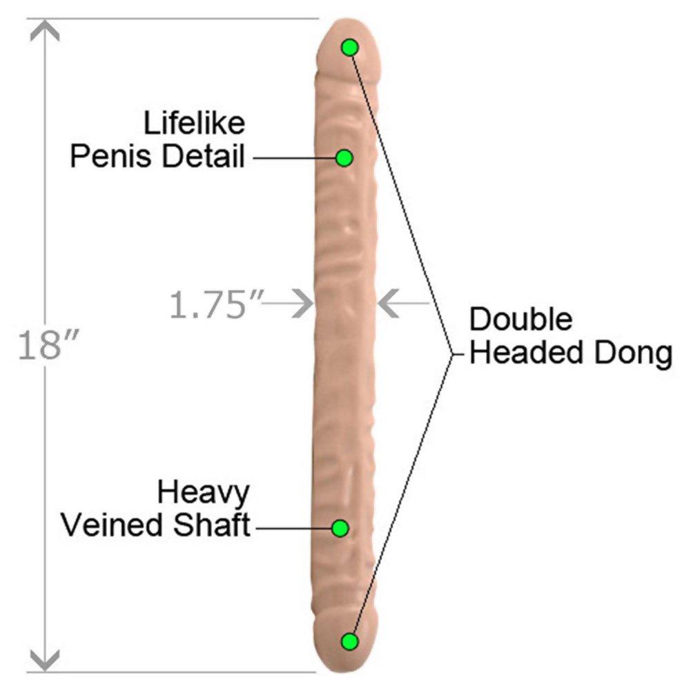 "Doc Johnson Veined Double Header Dong, 18"", Flesh"