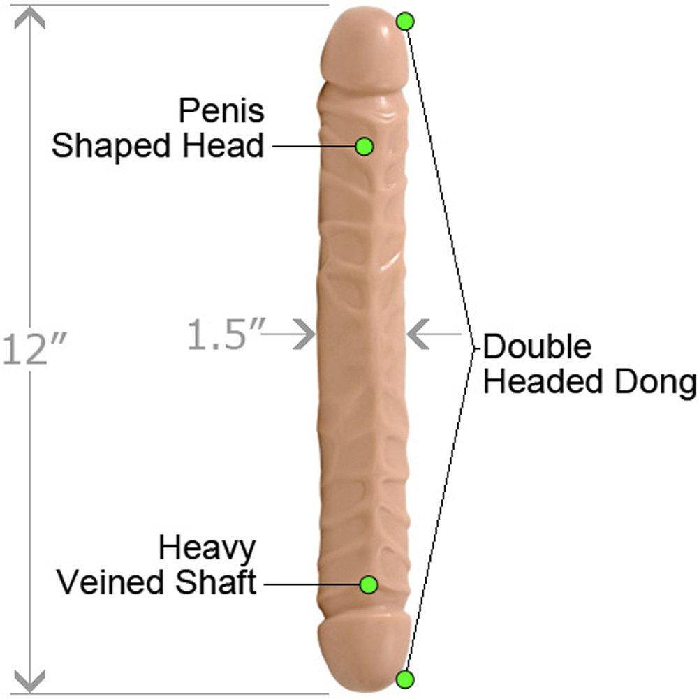 """Doc Johnson Jr Veined Double Header Bender Dong, 12"""", Flesh"""