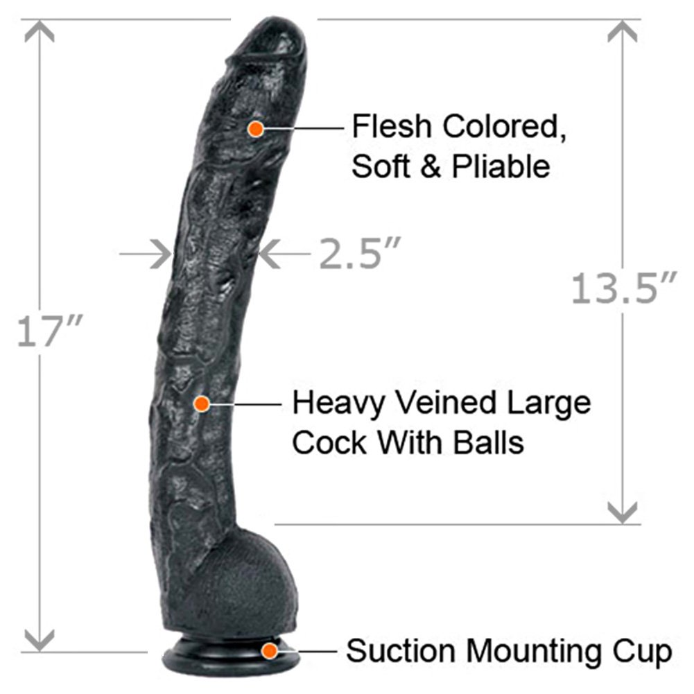 "Doc Johnson Classic Dick Rambone Cock Dildo, 17"", Ebony"