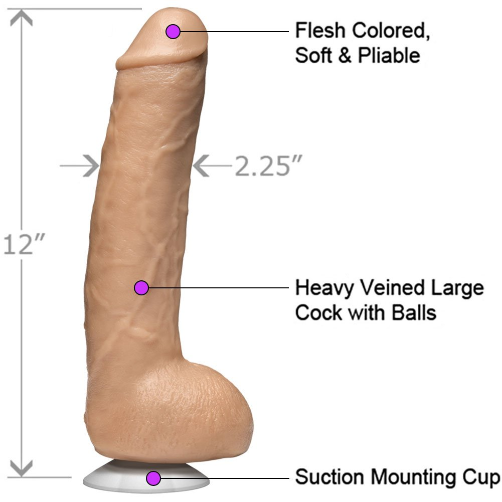 """John Holmes Realistic Cock with Removable Vac-U-Lock Cup, 12"""", Flesh"""