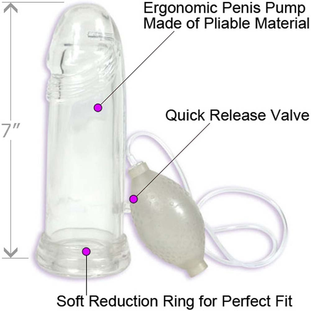 """Doc Johnson P3 Pliable Penis Pump, 7"""" by 1.75"""", Clear"""