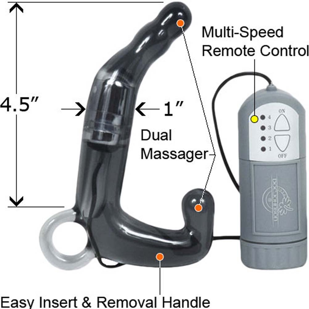 "Doc Johnson Pleasure Wand Waterproof Vibrating Prostate Stimulator, 4.5"", Smoke Grey"