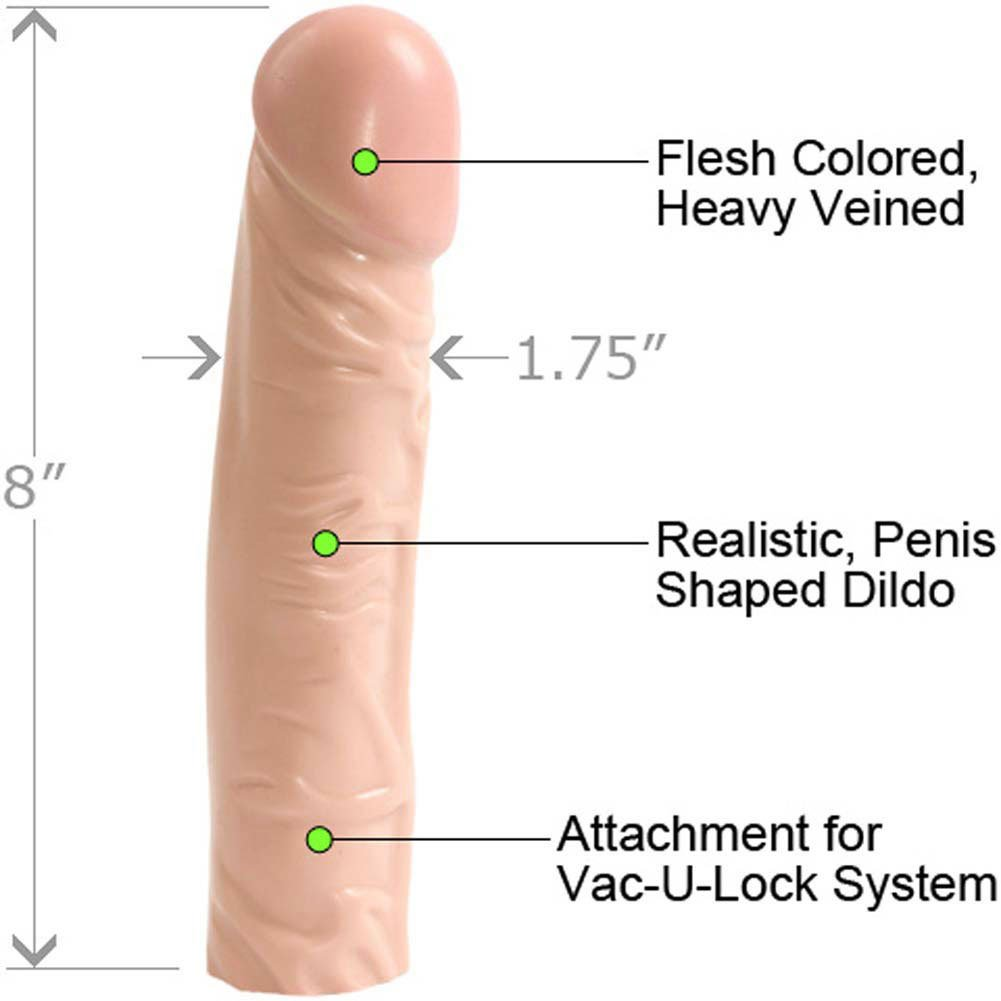 "Vac-U-Lock Classic Dong Attachment, 8"", Flesh"