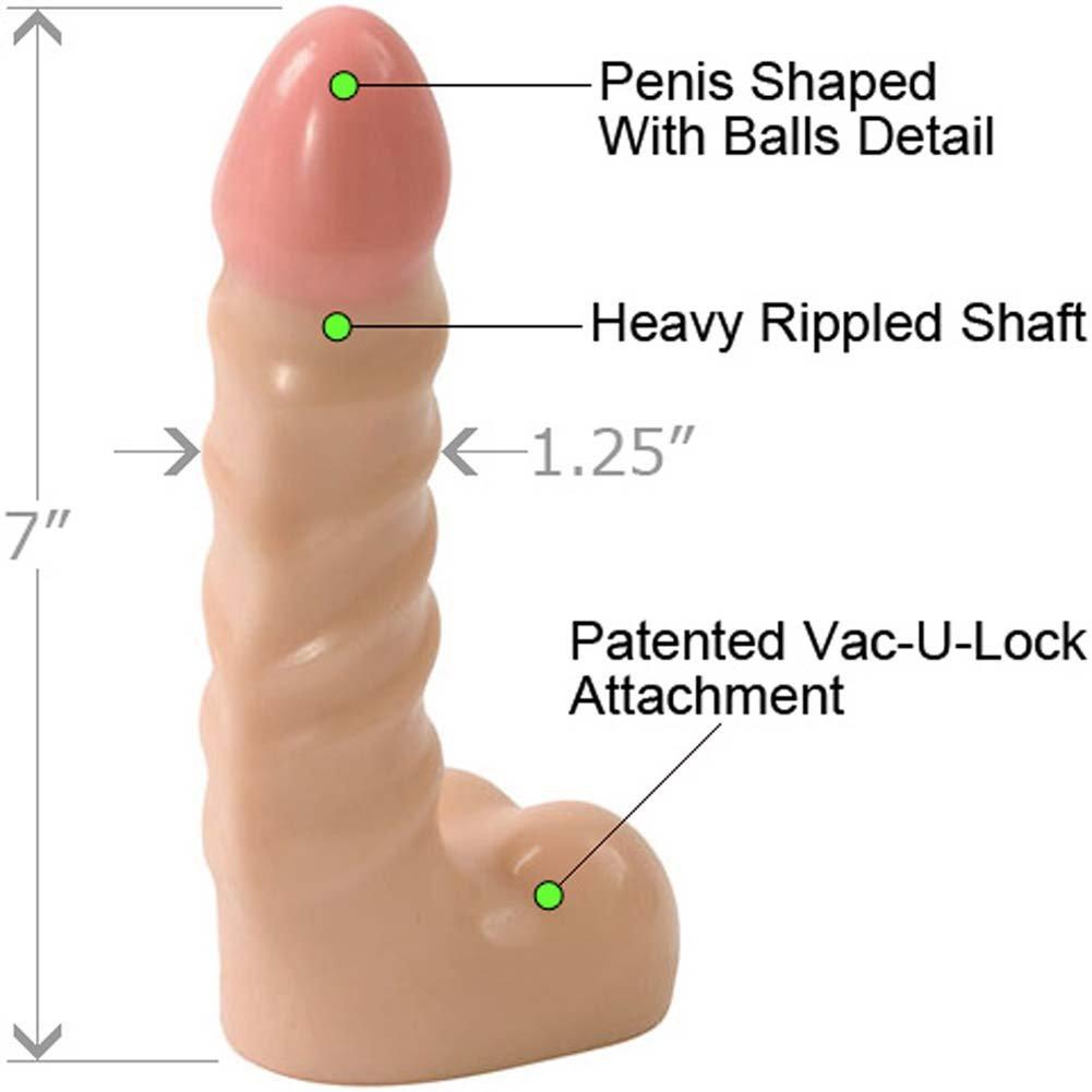 "Vac-U-Lock Raging Hard-On Cock with Balls, 7"", Vanilla"