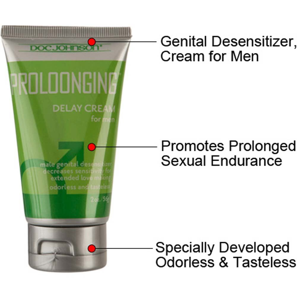 Doc Johnson Proloonging Delay Cream for Men, 2 Ounce (56 G), Boxed