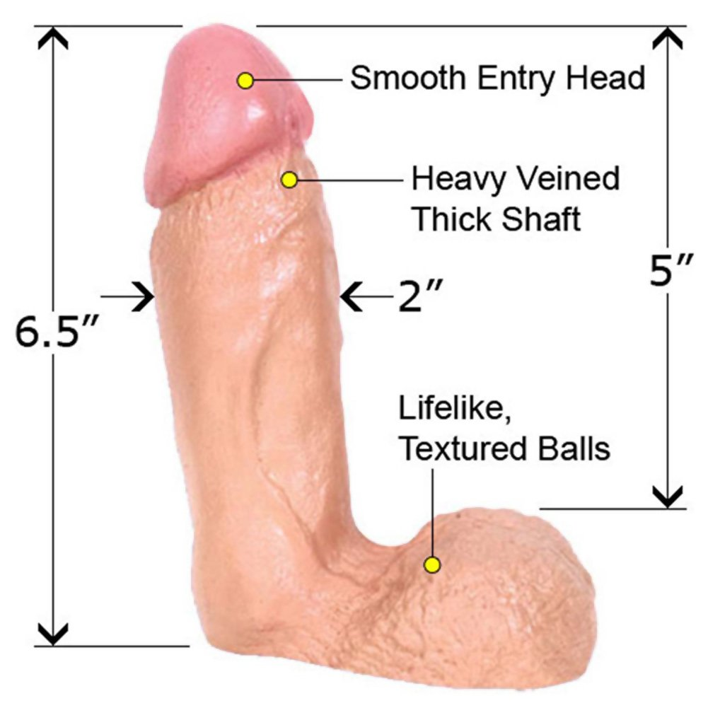 "Naturals Thick Dong with Balls, 6.5"", Flesh"