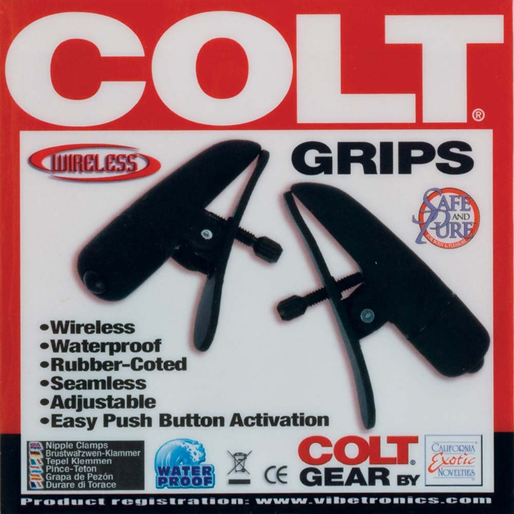 COLT by CalExotics Grips Wireless Adjustable Vibrating Nipple Clamps, Black