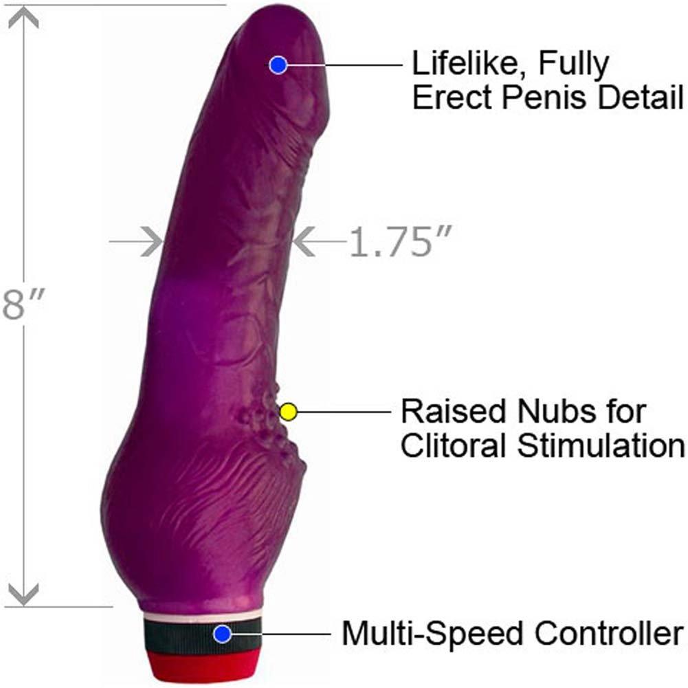 "Jelly Caribbean No 3 Waterproof Personal Vibrator, 8"", Purple"