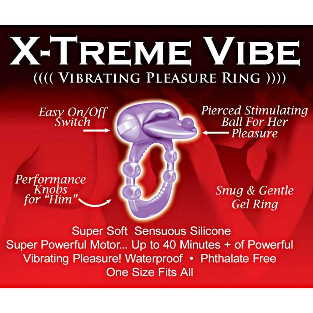 Hott Products Xtreme Vibes Pierced Tongue Silicone Cockring, Magenta