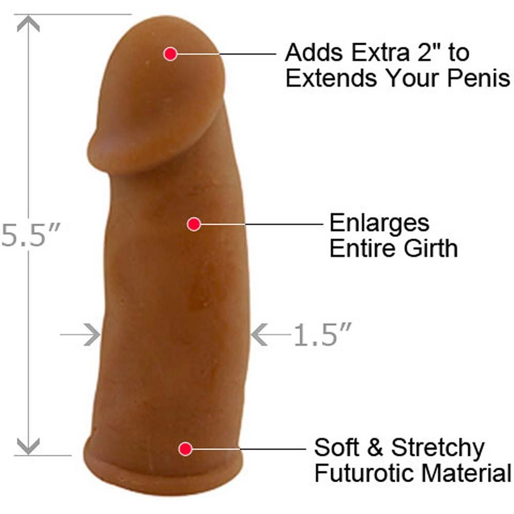 "2"" Extra Length Futurotic Penis Extension, 5.5"", Brown"