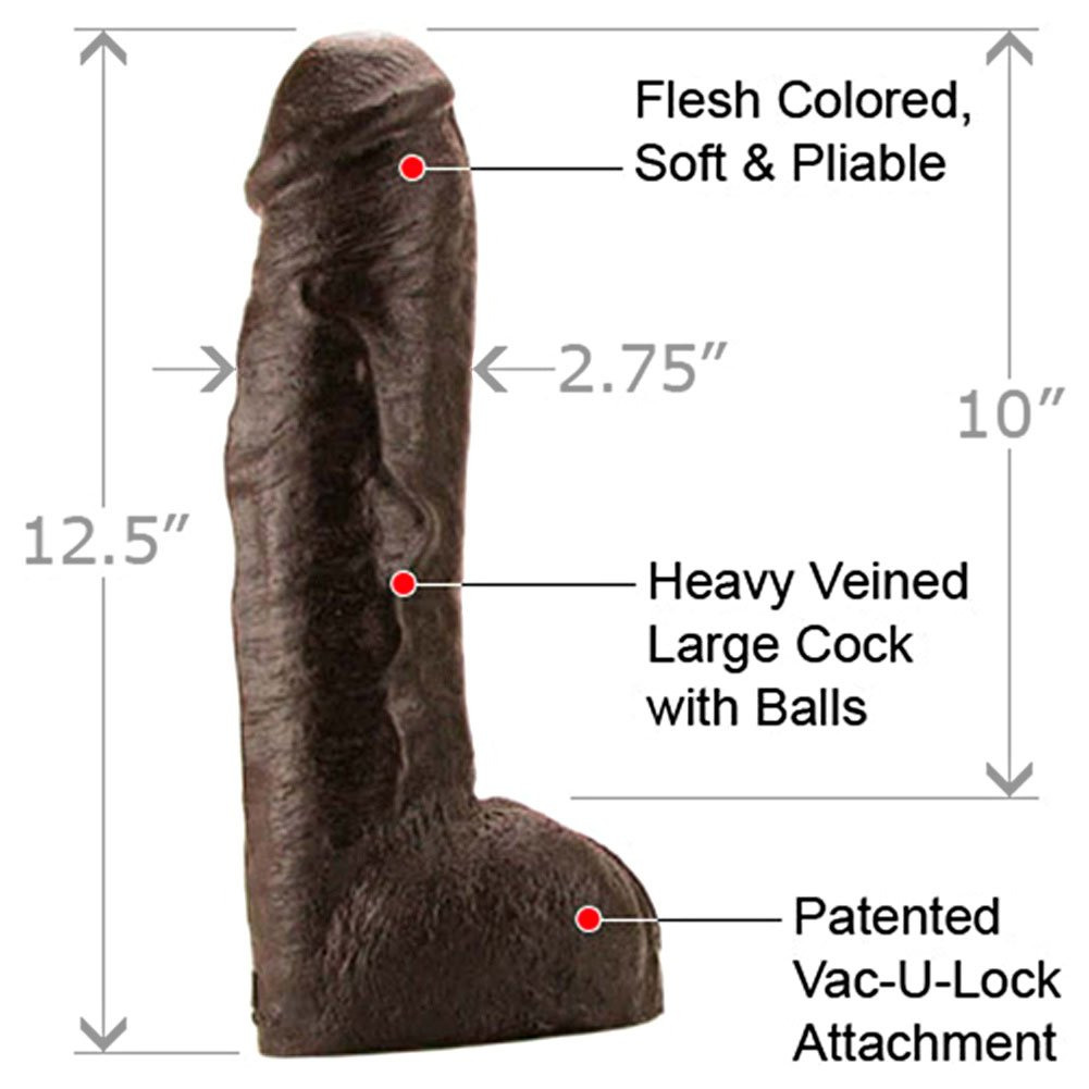 "Vac-U-Lock Hung Realistic Dildo with Balls, 12.5"", Ebony"