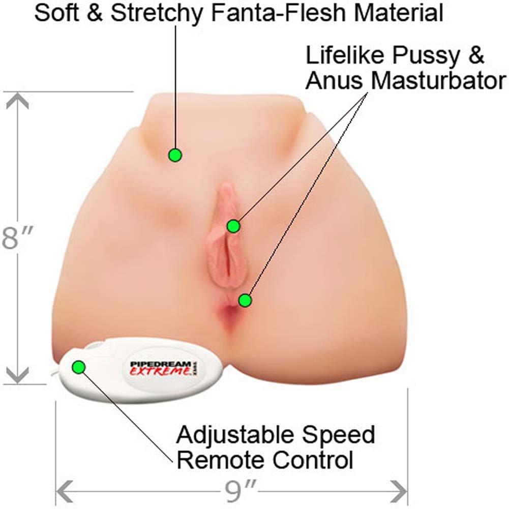 Pipedream Extreme Toyz Big Ass Vibrating Pussy Masturbator, Natural Flesh