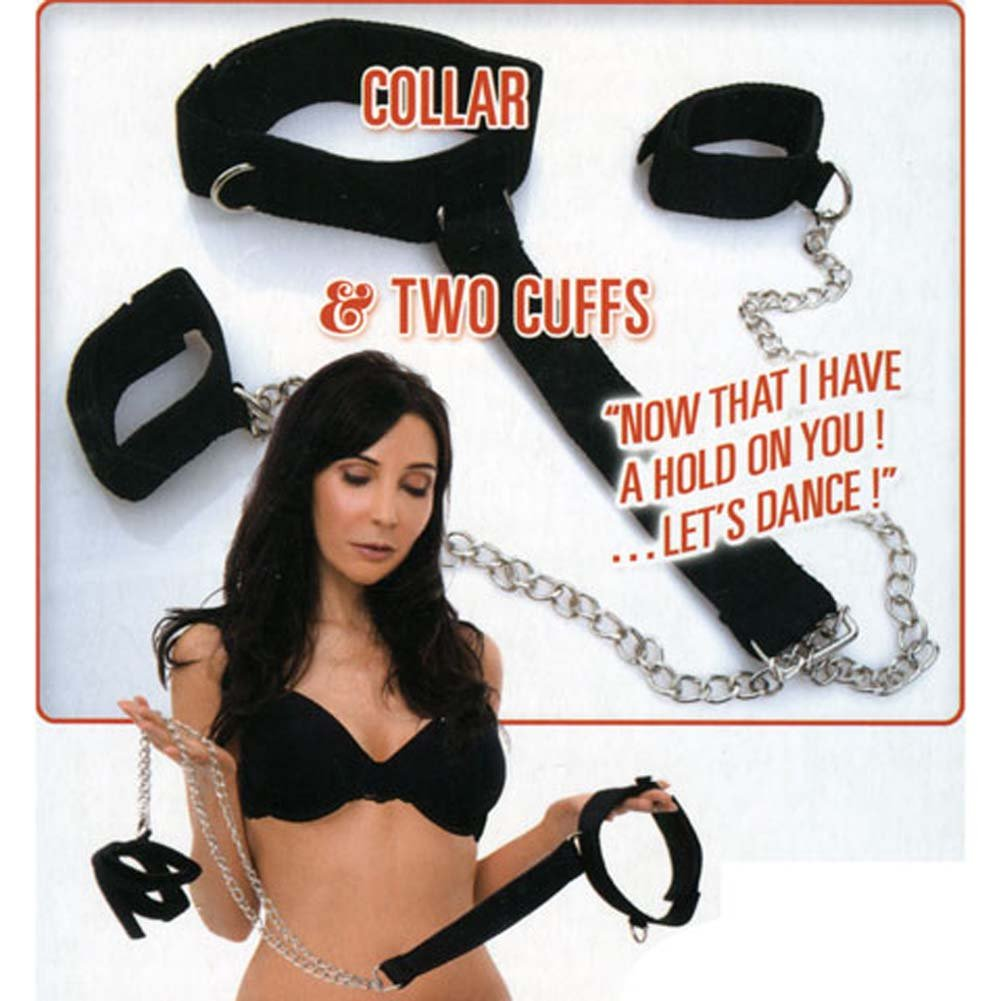 Dominant Submissive Collection 2 Cuffs and Collar Set Black