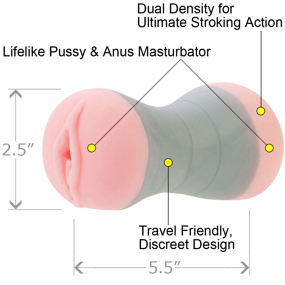 Travel Gripper Pussy and Ass Male Masturbator, Pink