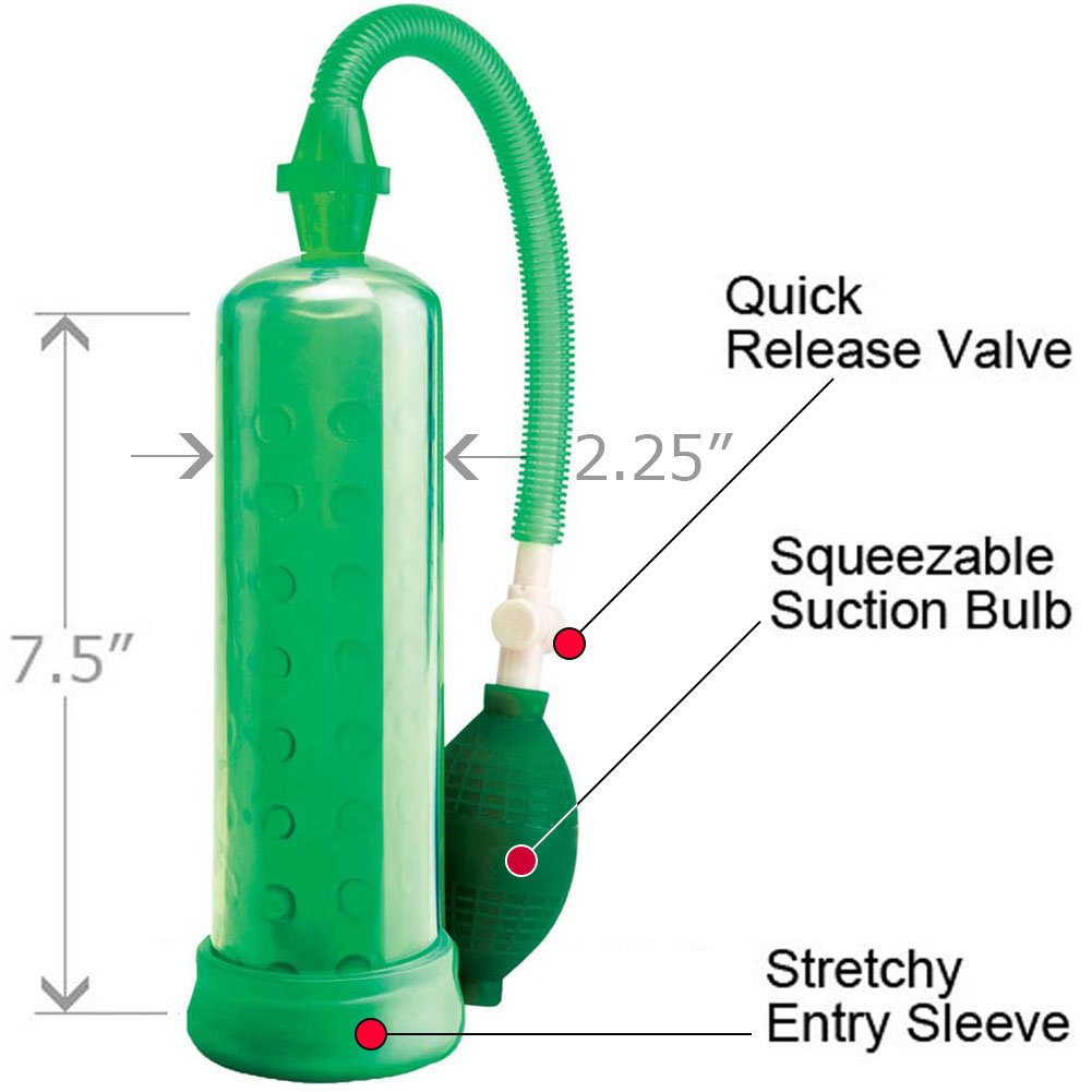 "Pump Worx Silicone Power Pump, 7.5"" by 2"", Green"
