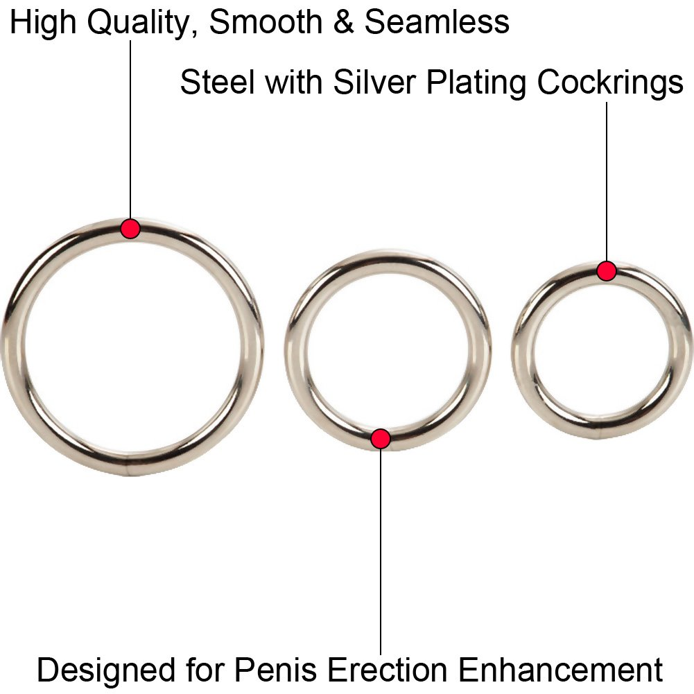 CalExotics Solid Metal Cock Ring Set, Silver
