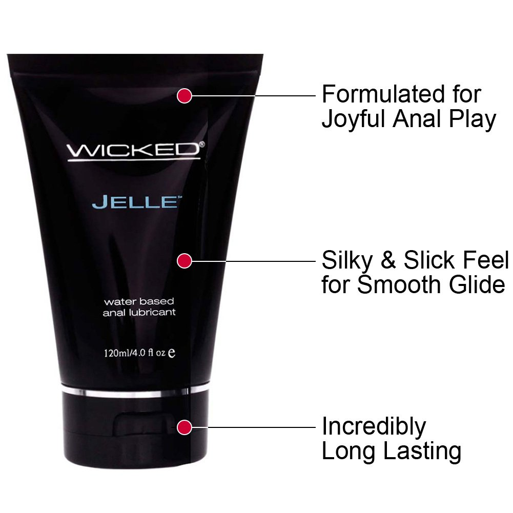 Wicked Jelle Water Based Anal Gel Lubricant, 4 Fl.Oz (120 mL)