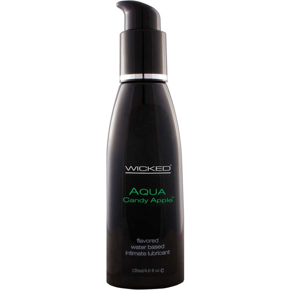 Wicked Aqua Flavored Water Based Intimate Lubricant, 4 Fl.Oz (120 mL) Candy Apple