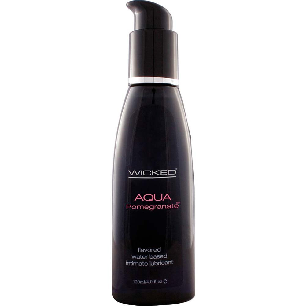 Wicked Aqua Flavored Water Based Intimate Lubricant, 4 Fl.Oz (120 mL) Pomegranate
