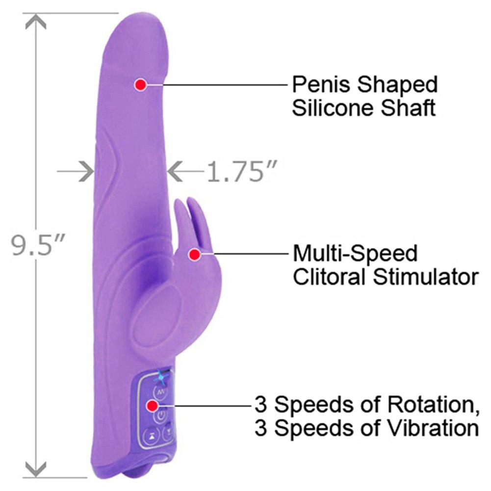 "CalExotics Triple Motor Silicone Jack Rabbit Female Vibrator, 9.5"", Sexy Purple"