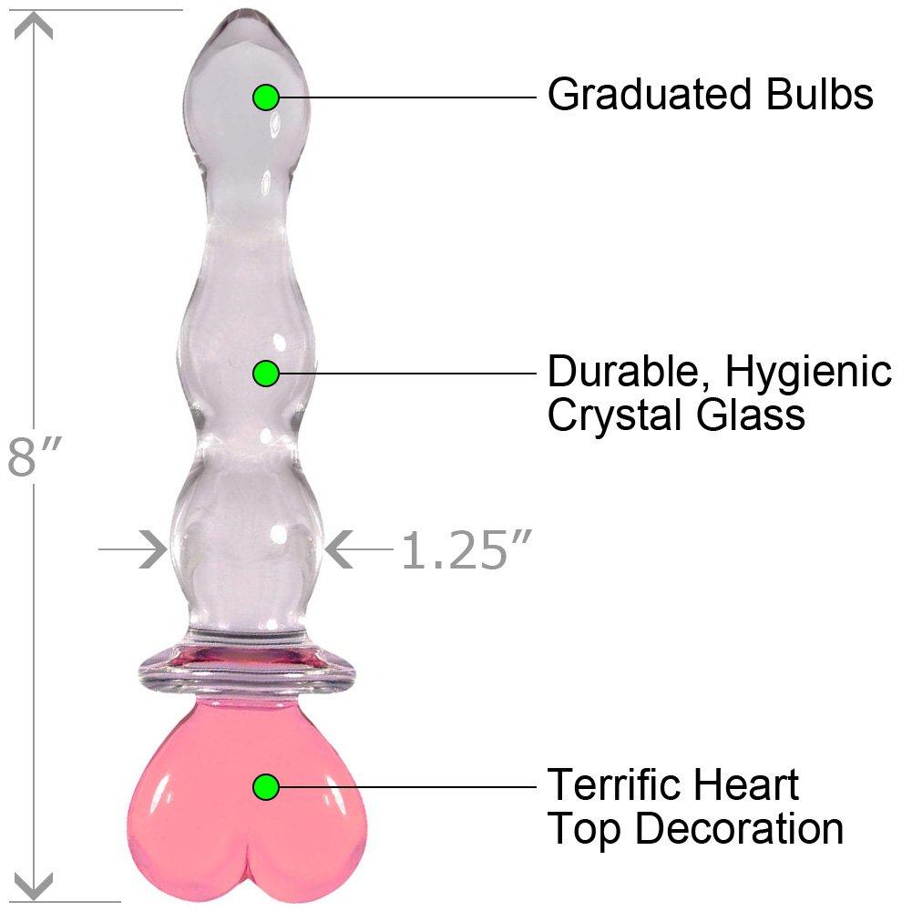"NS Novelties Crystal Heart of Glass Dong, 8"", Pink"