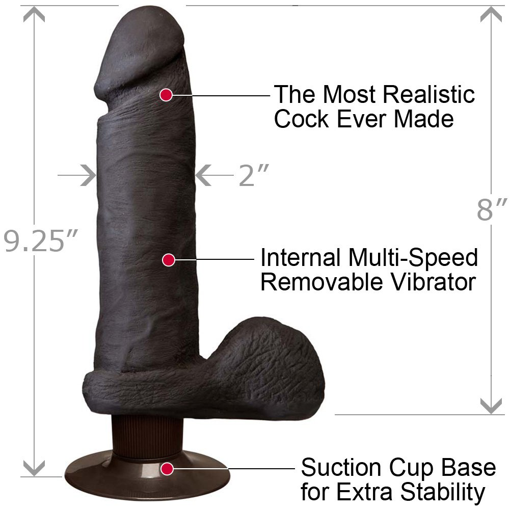 "Vibrating Realistic UltraSKYN Cock with Balls, 8"", Chocolate"