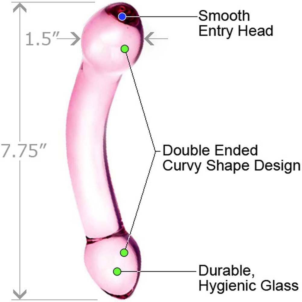"Glas Double Trouble Dual Ended Glass Dildo, 7.75"", Purple"