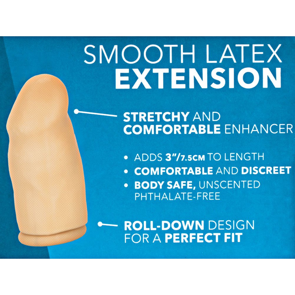 """3"""" Extra Length Smooth Latex Penis Extension Condom, Ivory"""