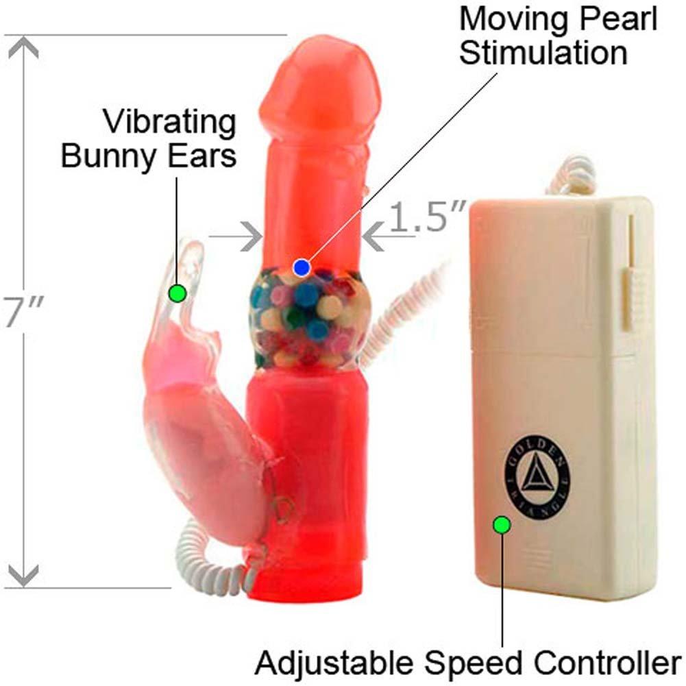 "Wascally Wabbit Rabbit Style Intimate Vibrator, 7"", Pink"