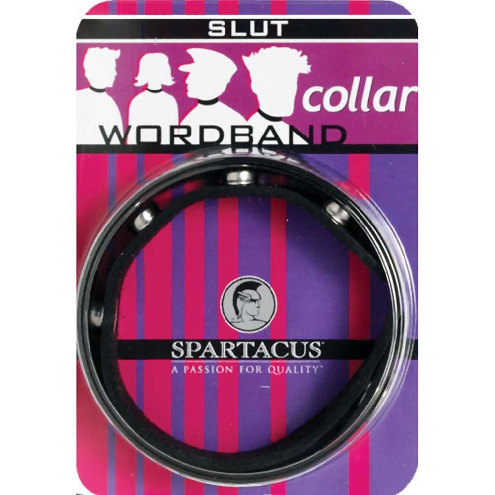 Spartacus SLUT Wordband Adjustable Leather Collar, Black