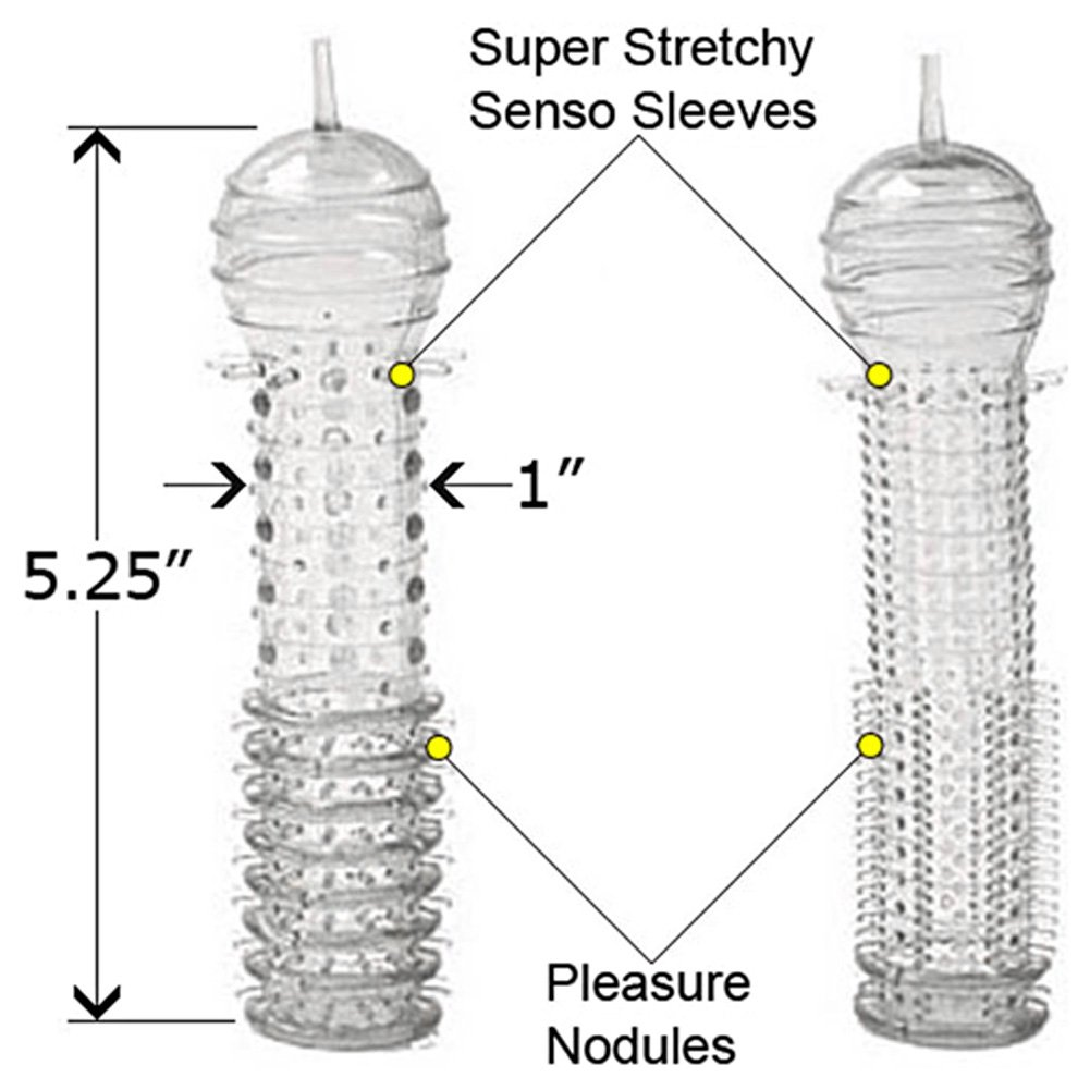 "2 Pack Senso Penis Sleeves, 5.25"", Clear"