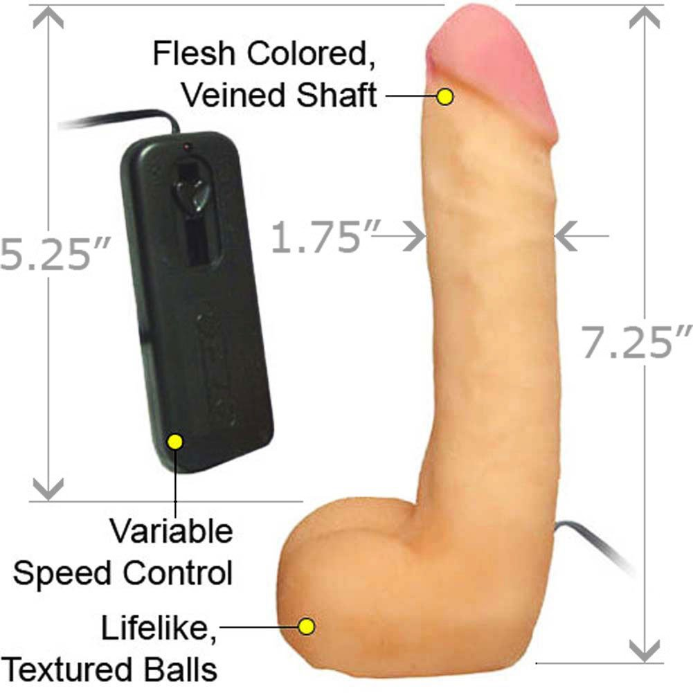 """CyberSkin Vibrating Cyber Cock with Balls, 7.25"""", Flesh"""