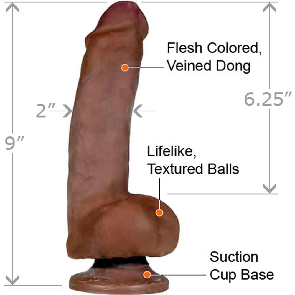 "CyberSkin Perfect Pecker Cock and Balls Dildo, 9"", Ebony"