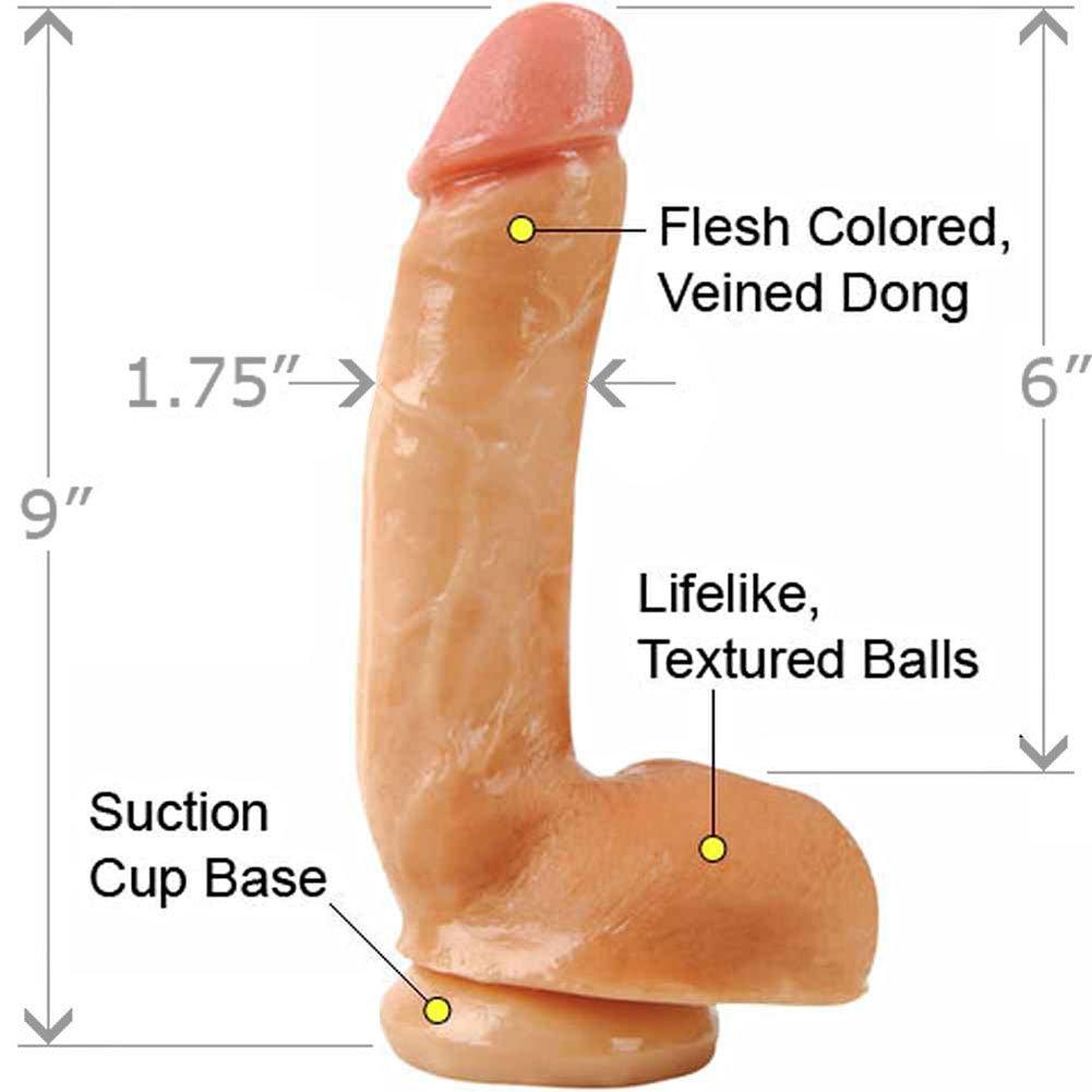 "Adams PleasureSkin Realistic Cock and Balls, 8"", Vanilla"