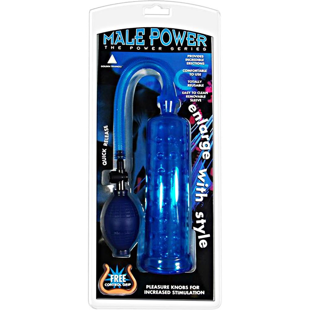 "Male Power Penis Pump, 7.5"" by 2.5"", Blue"