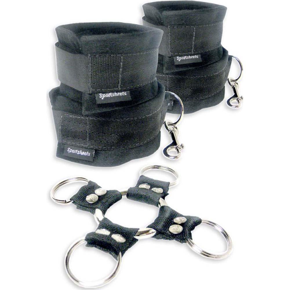 Sportsheets 5 Piece Hog Tie and Cuff Set, Black