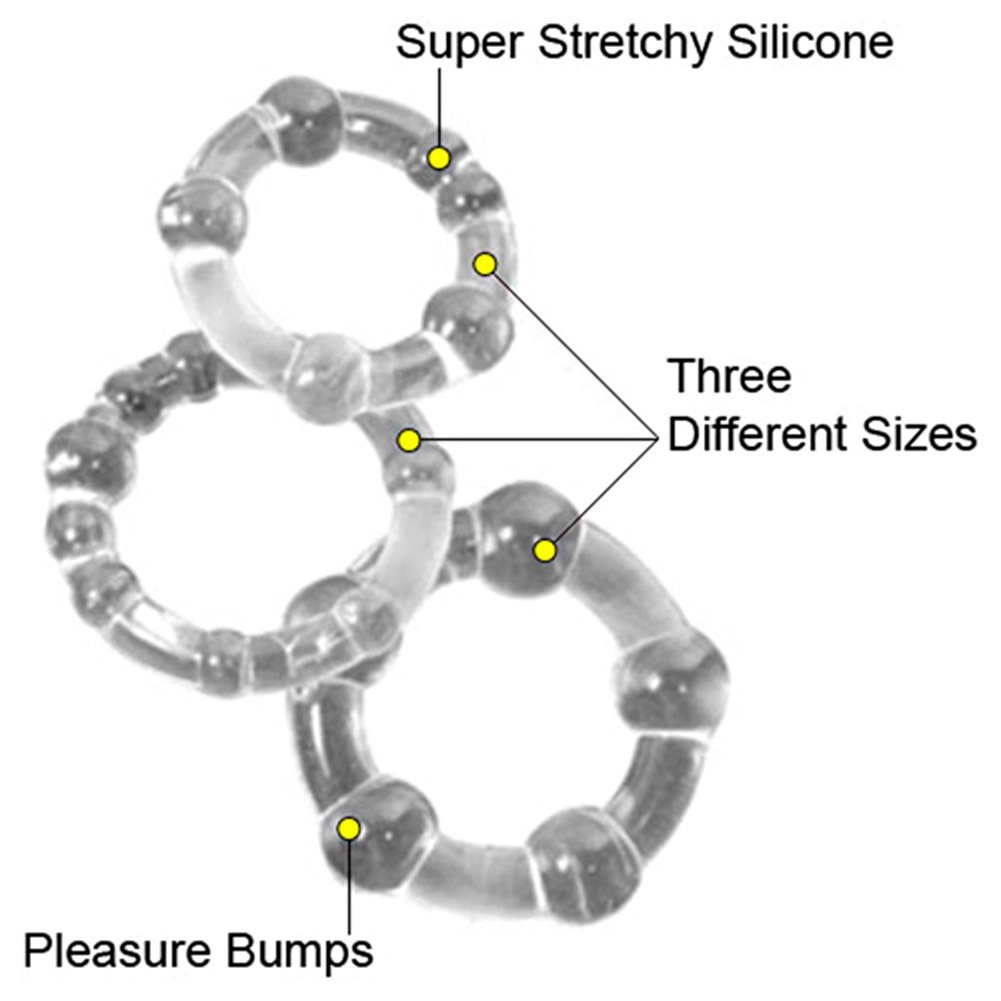 CalExotics Island Rings, Pack of 3 Stretchy Cockrings, Clear