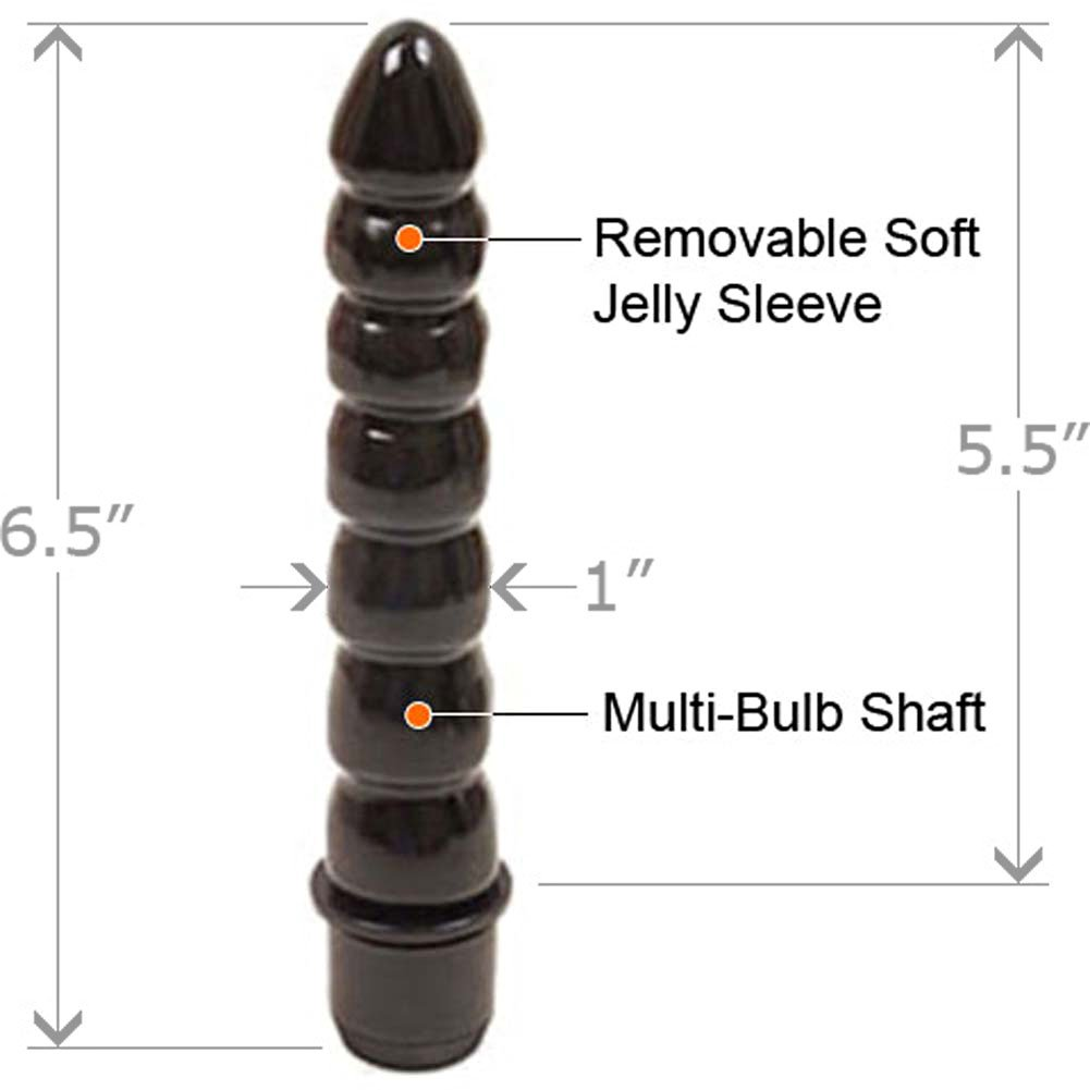 "Tushy Waterproof Vibrating Jelly Teaser, 6.5"", Black"