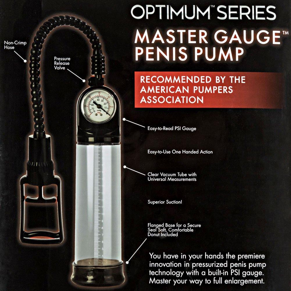 """Optimum Series Master Gauge Penis Pump, 8"""" by 2.75"""", Clear"""