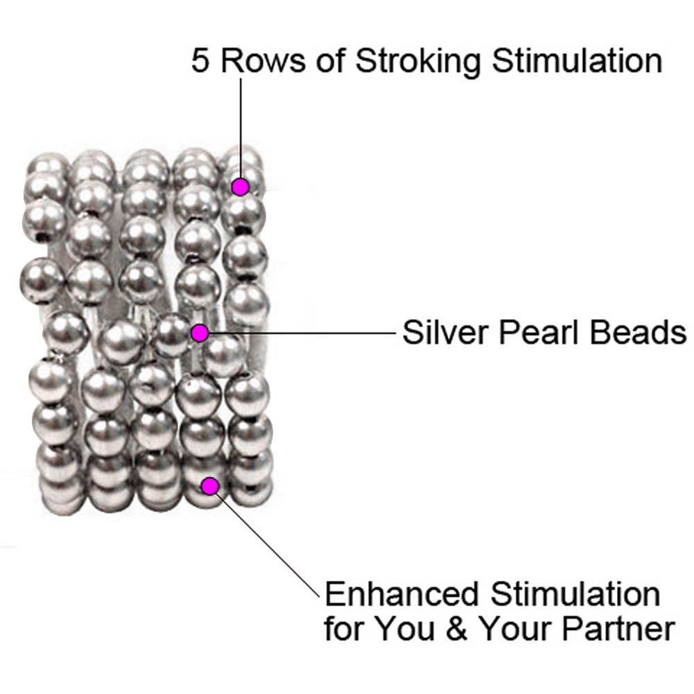 Ultimate Stroker Beaded Erection Support Rings, Silver