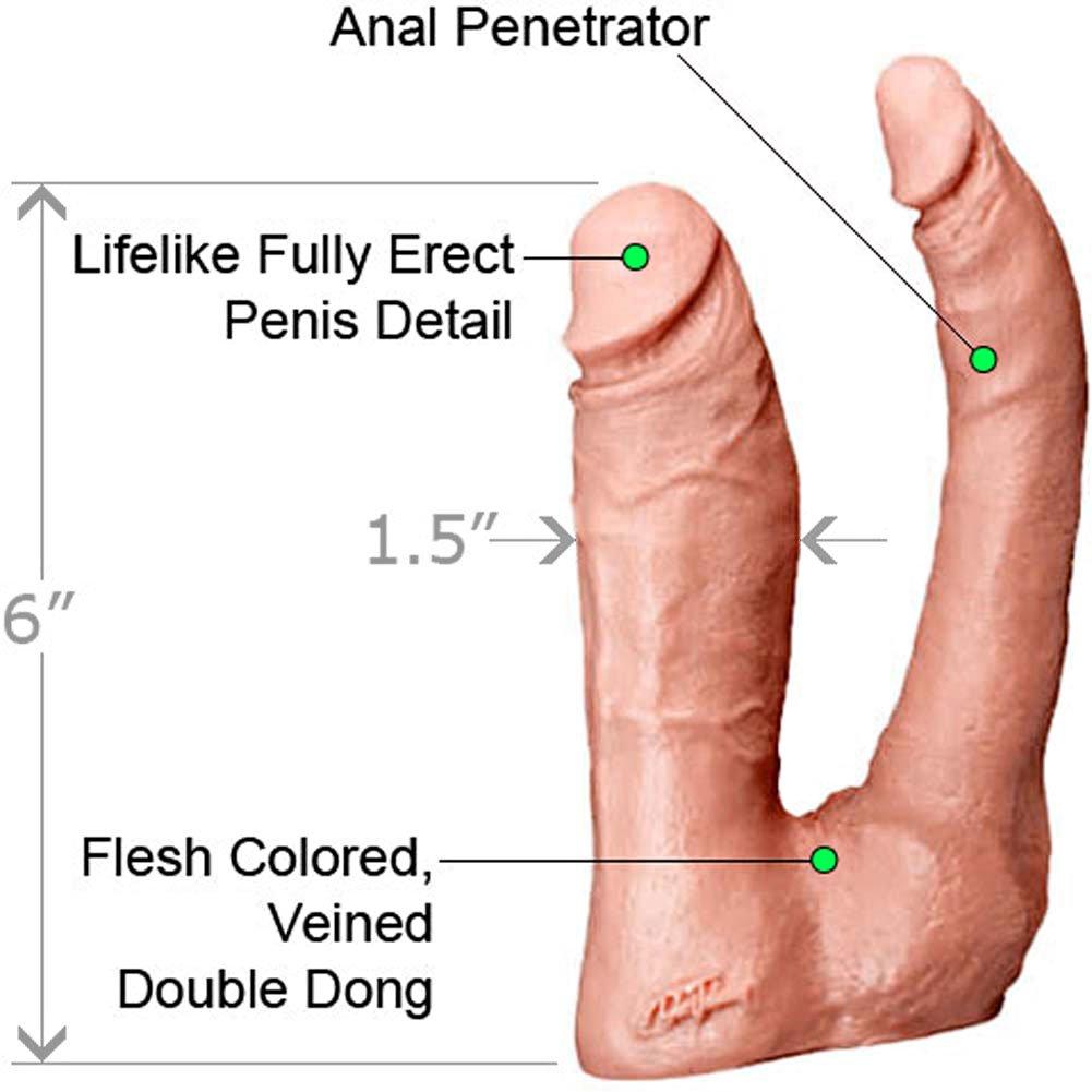 """Vac-U-Lock Double Penetrator Dual Dong, 6"""", Vanilla"""