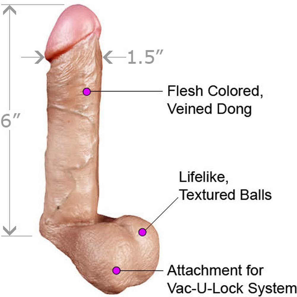 "Vac-U-Lock Realistic Cock with Balls, 6"", Flesh"