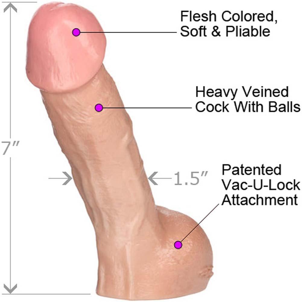 "Vac-U-Lock Perfect Realistic Erect Cock, 7"", Flesh"