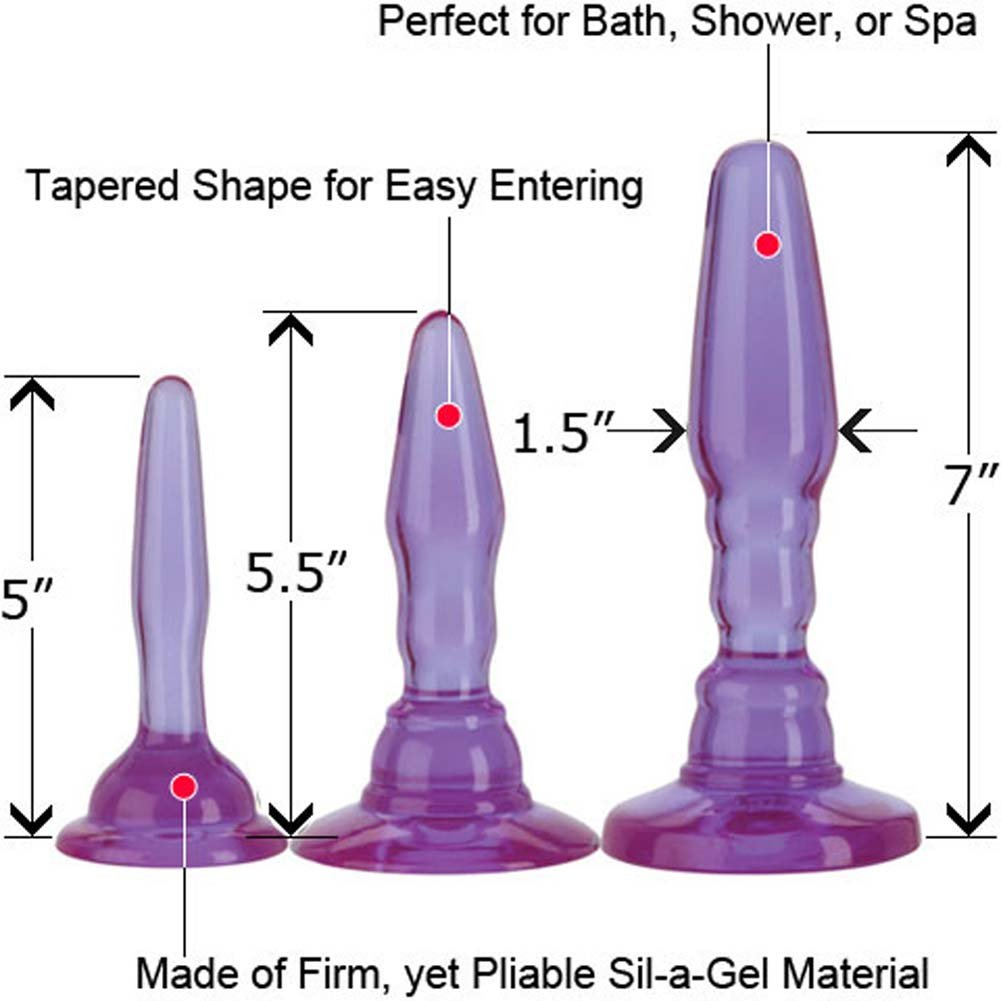 "Wendy Williams Anal Trainer Kit with 3 Butt Plugs, 7"", Purple"