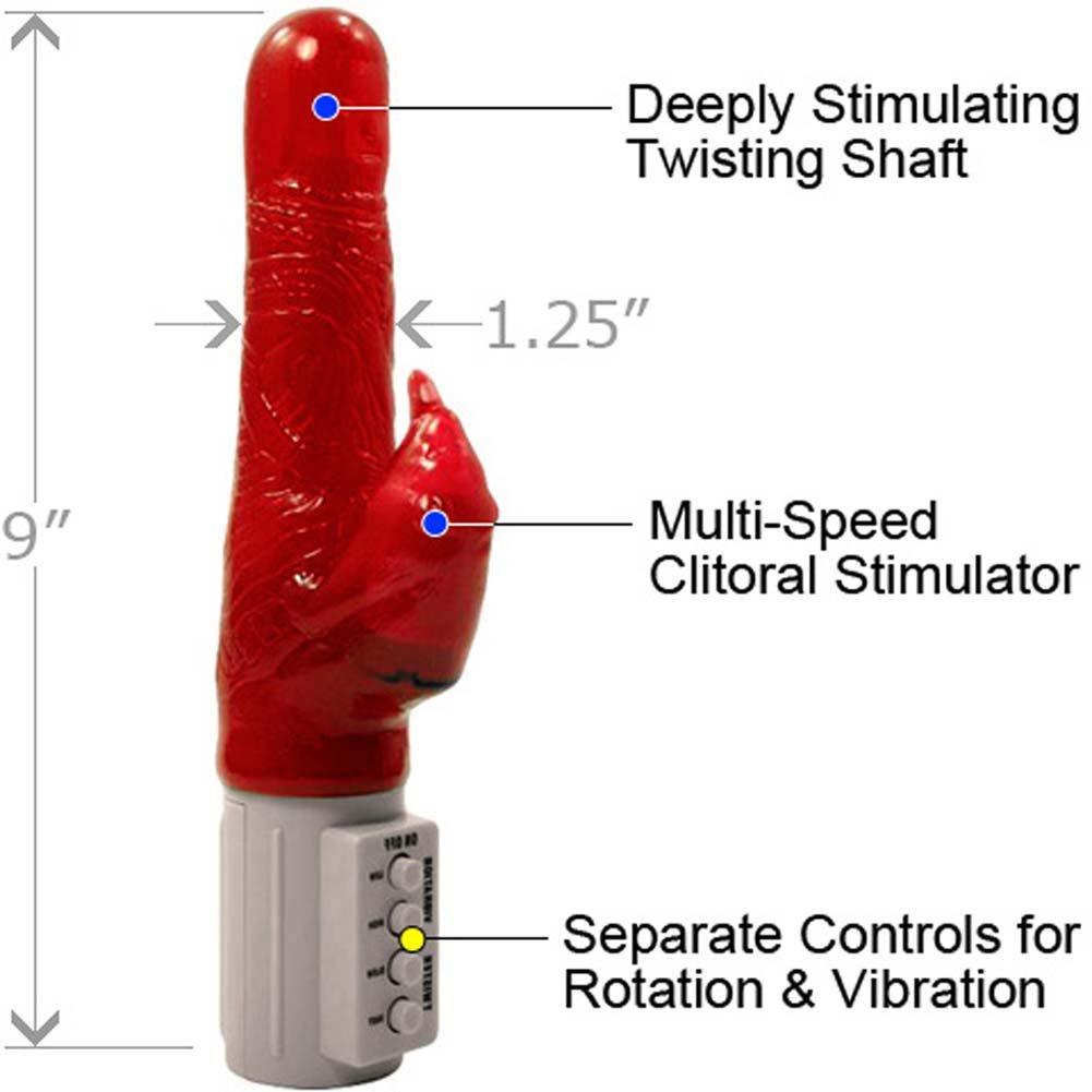 "Osaki Twister Beaver Dual Action Female Vibrator, 9"", Red"