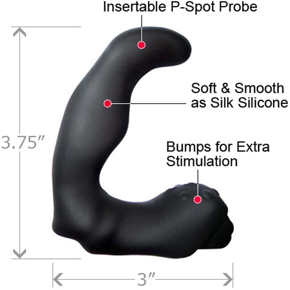 "Velvet Plush Vibrating Silicone Prostate Mini Probe, 3.75"", Black"