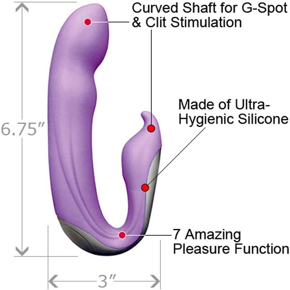 """Velvet Plush 7X Zuma Silicone G-Spot Vibrator, 6.75"""", Purple"""