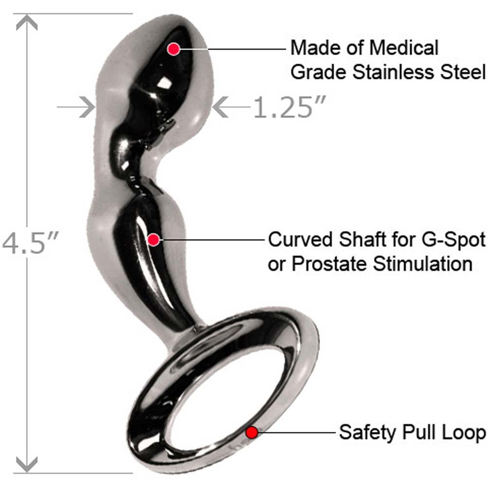 "Njoy Metal Prostate Pfun Plug, 4.5"", Polished Steel"